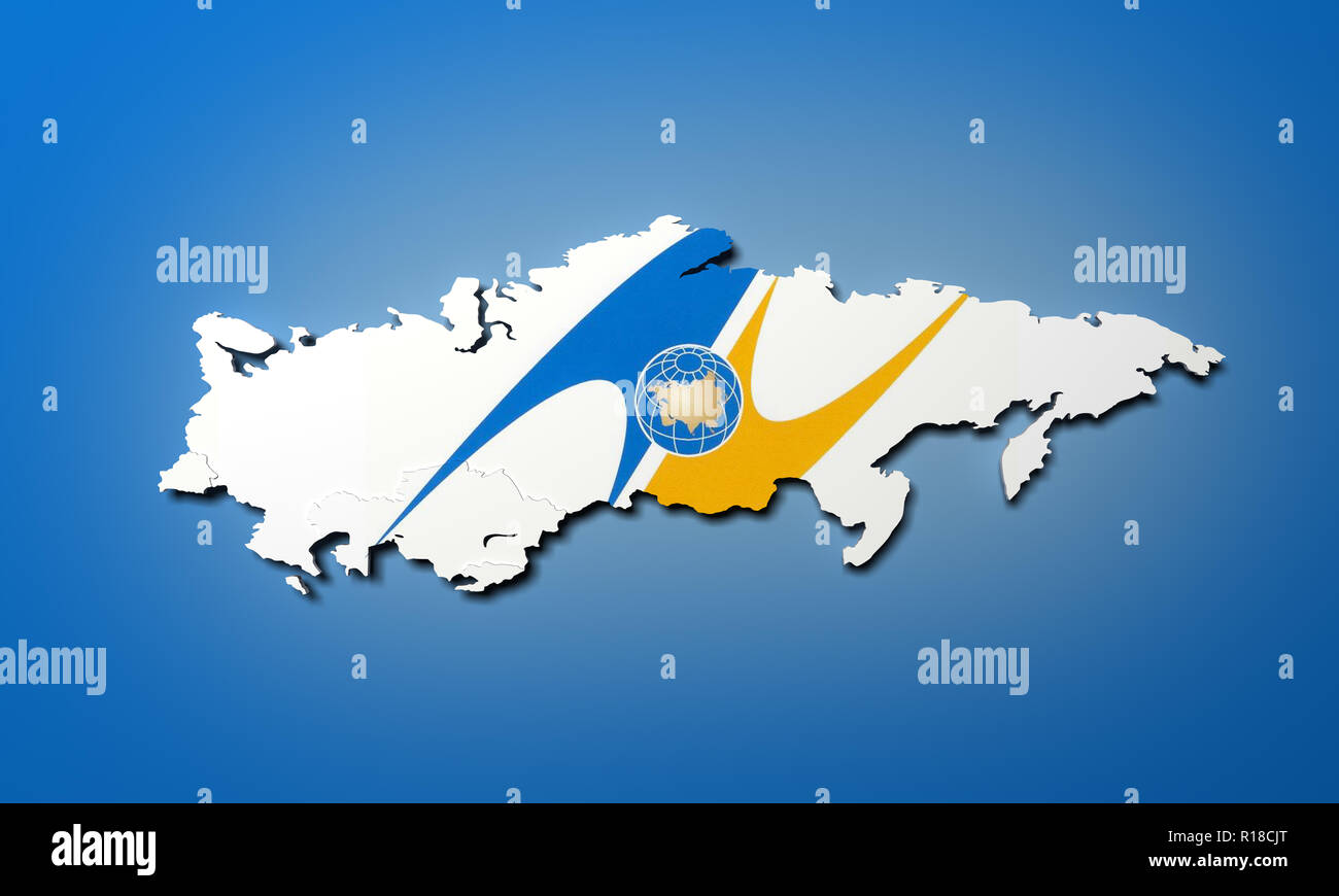 Schematic map of the member states of Eurasian Economic Union (EAU) National flags Russia Belarus Kazakhstan and Armenia on blie background 3d render - Stock Image