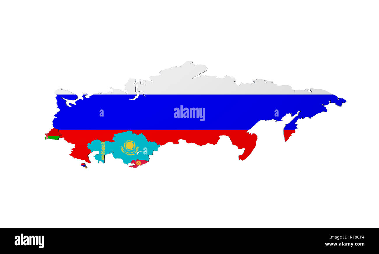 Schematic map of the member states of Eurasian Economic Union (EAU) National flags Russia Belarus Kazakhstan and Armenia on white background 3d render - Stock Image