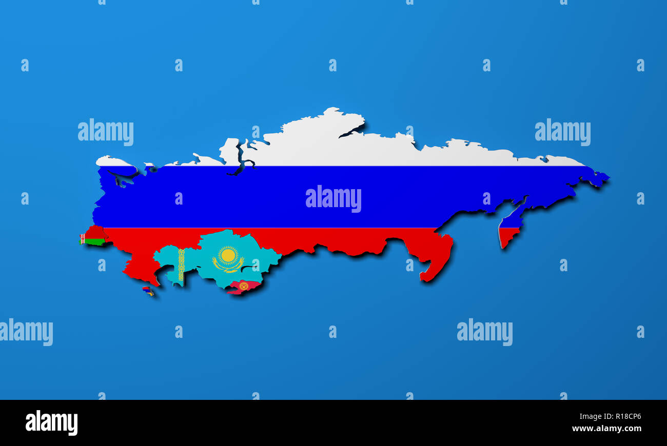 Schematic map of the member states of Eurasian Economic Union (EAU) National flags Russia Belarus Kazakhstan and Armenia on blue background 3d render - Stock Image