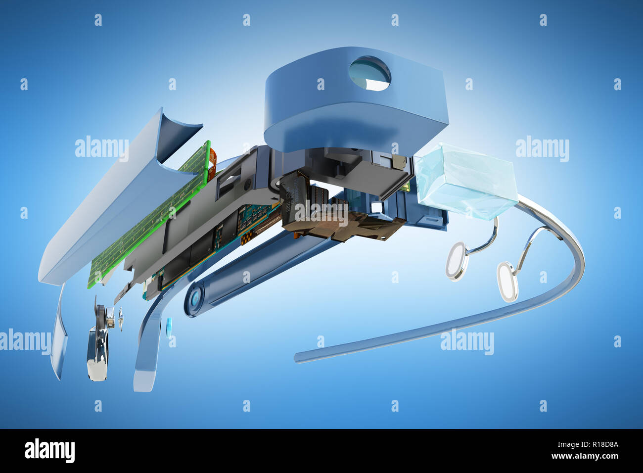 Interactive glasses Disassemble in parts 3d render on blue background - Stock Image
