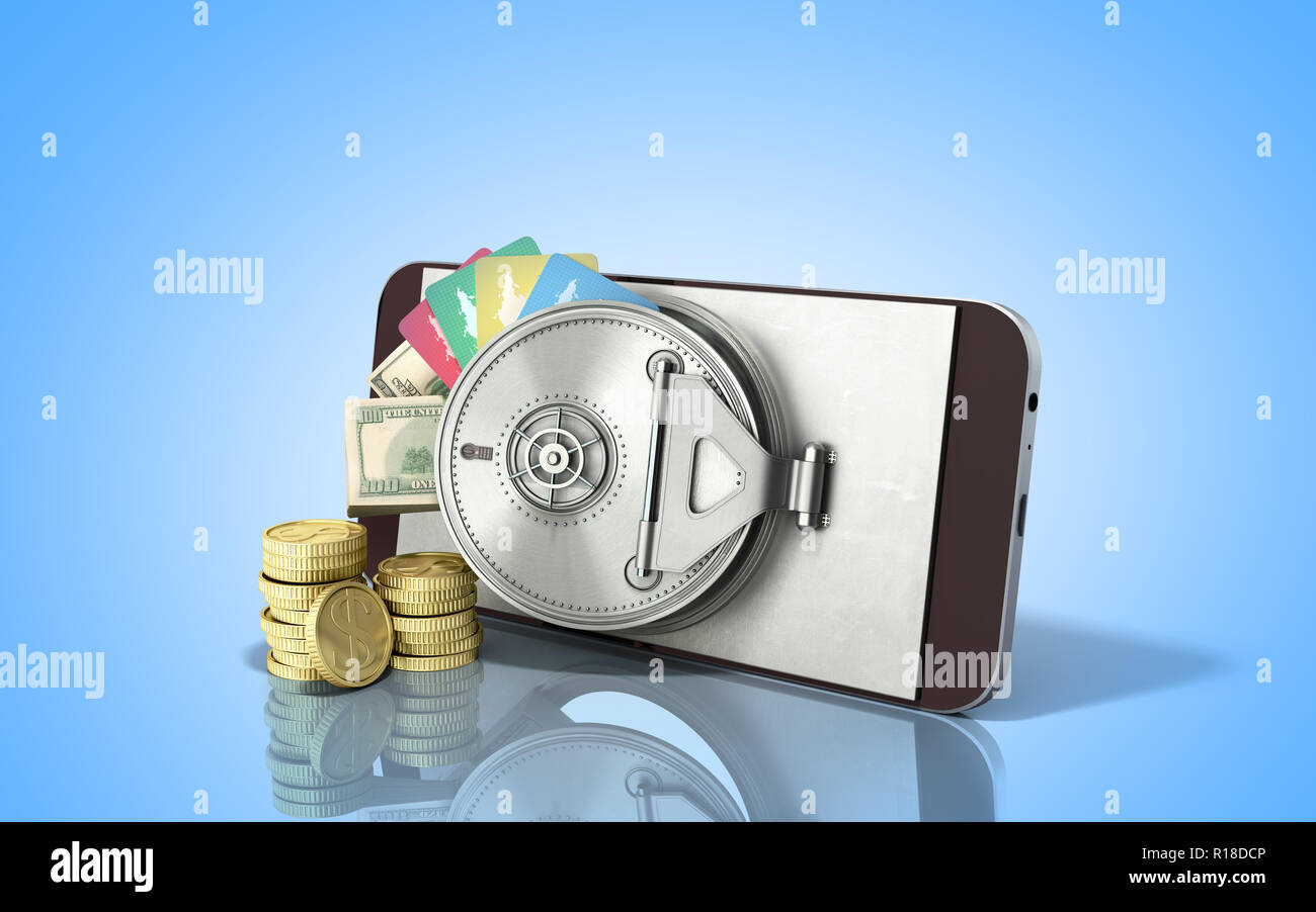 mobile banking concept mobile phone with money dollar stacks coins and credit cards 3d render on blue glass background - Stock Image