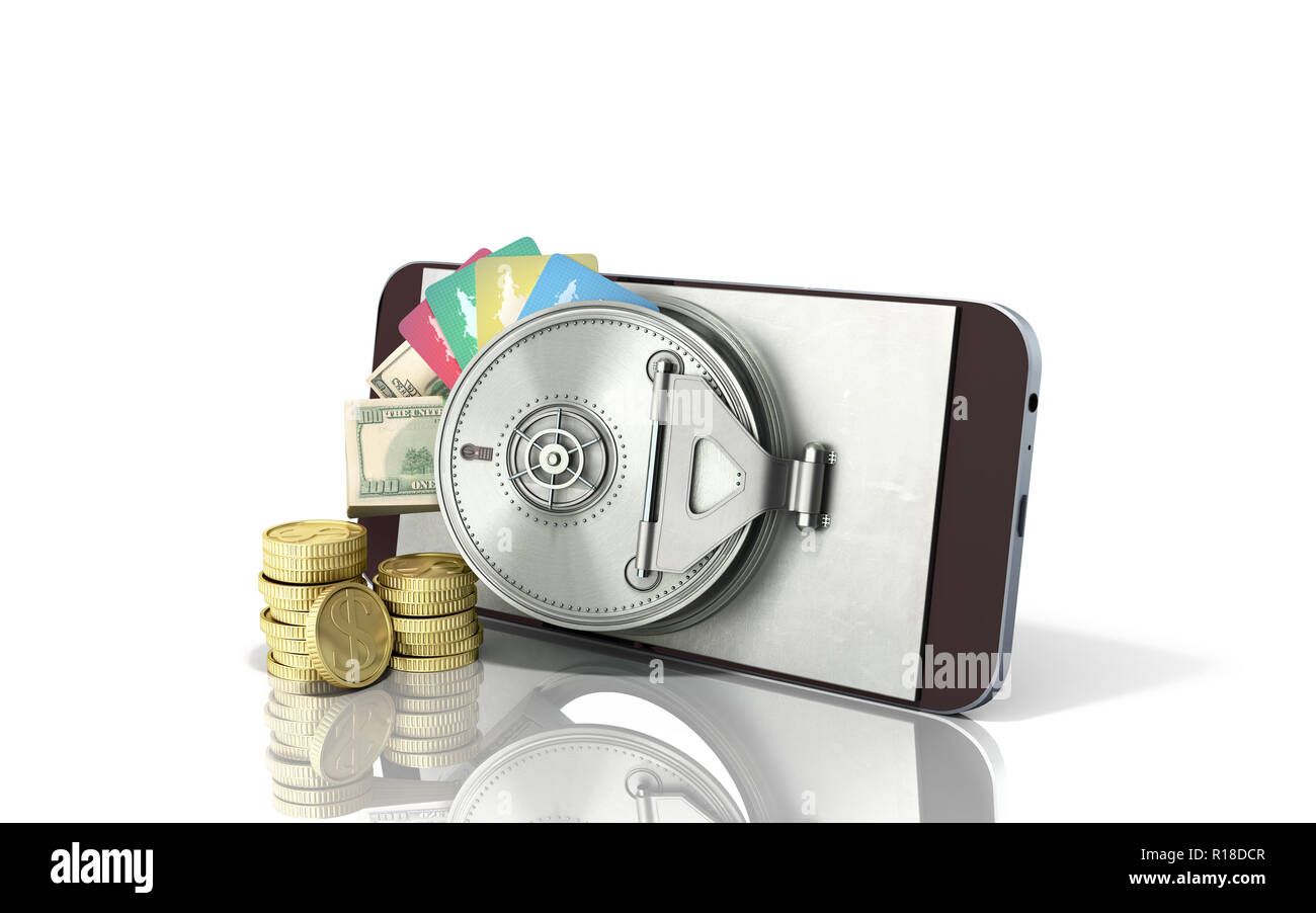mobile banking concept mobile phone with money dollar stacks coins and credit cards 3d render on white glass background - Stock Image