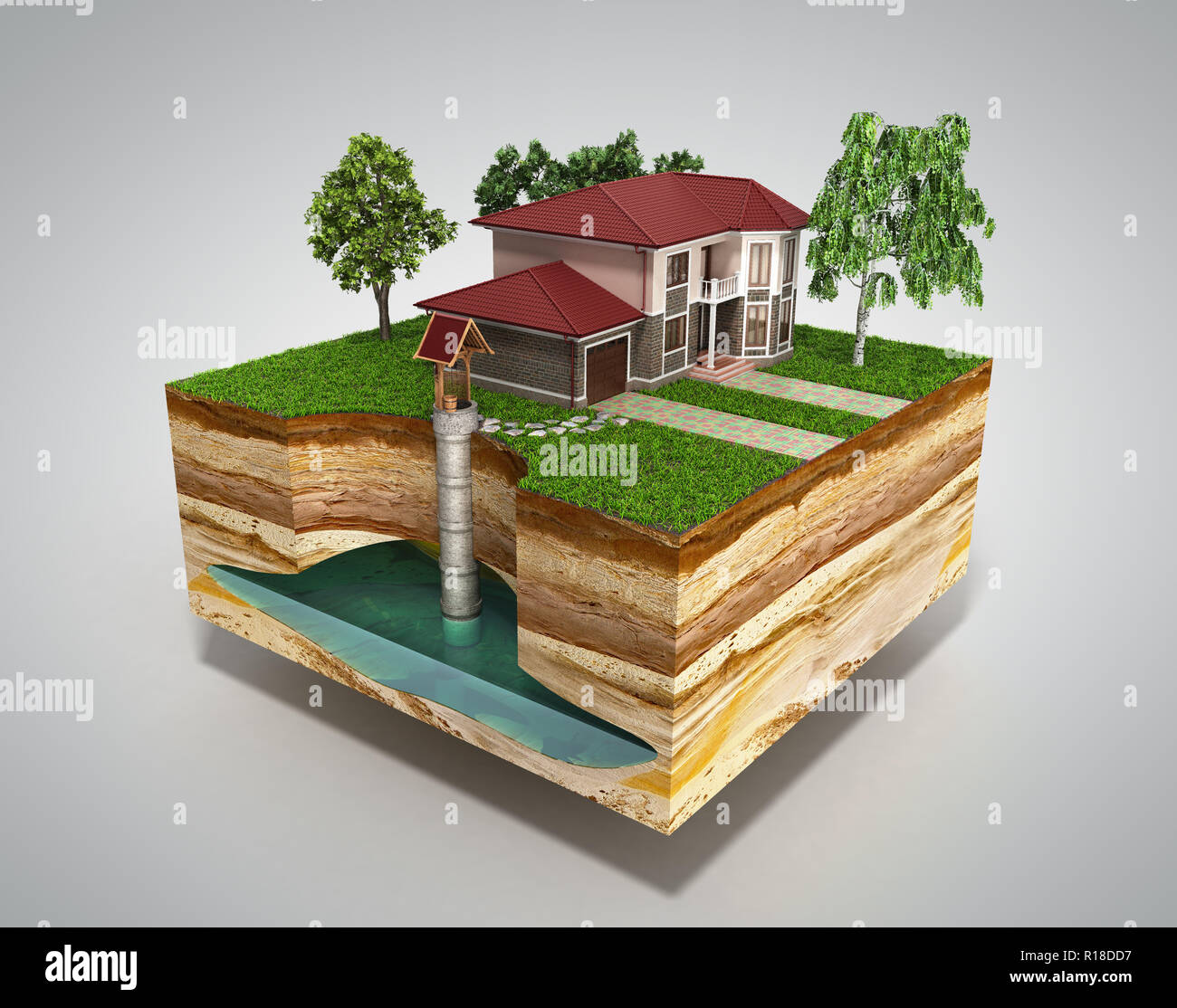 water well system The image depicts an underground aquifer 3d render on grey - Stock Image