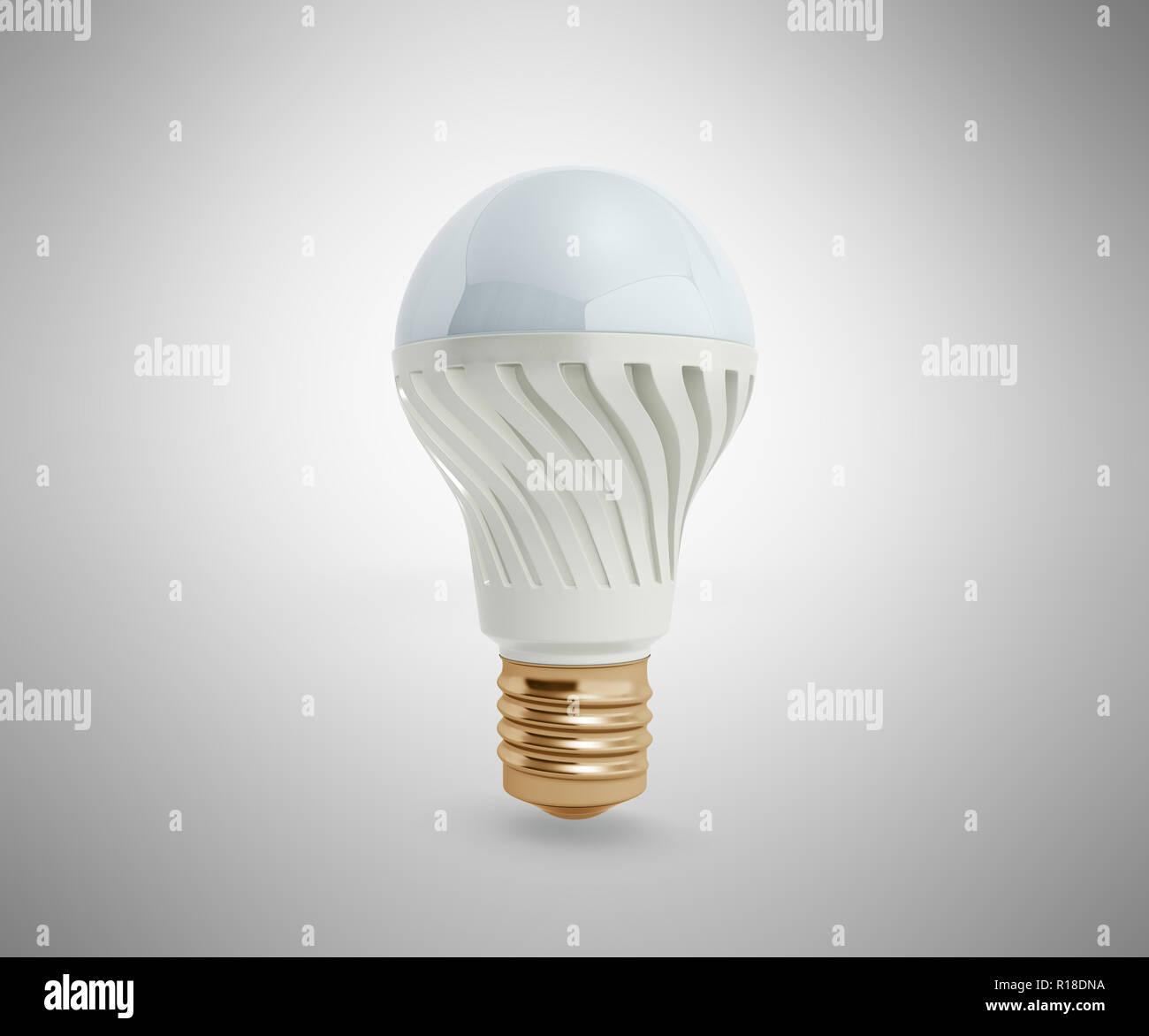 Economy LED lamps isolated on grey background 3d render - Stock Image