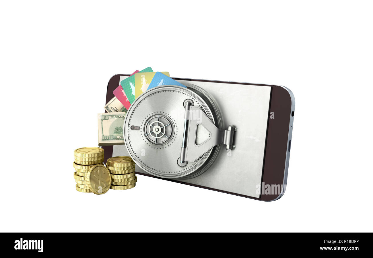 mobile banking concept mobile phone with money dollar stacks coins and credit cards 3d render on white no shadow - Stock Image