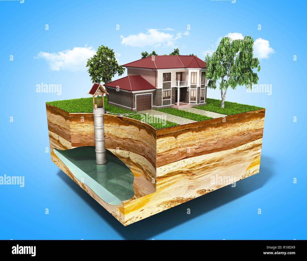water well system The image depicts an underground aquifer 3d render on blue - Stock Image