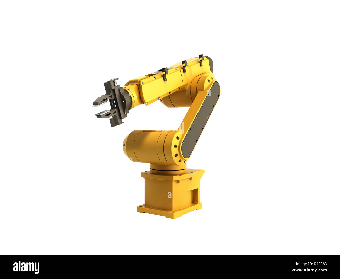 Industrial robot on white background no shadow 3D rendering - Stock Image