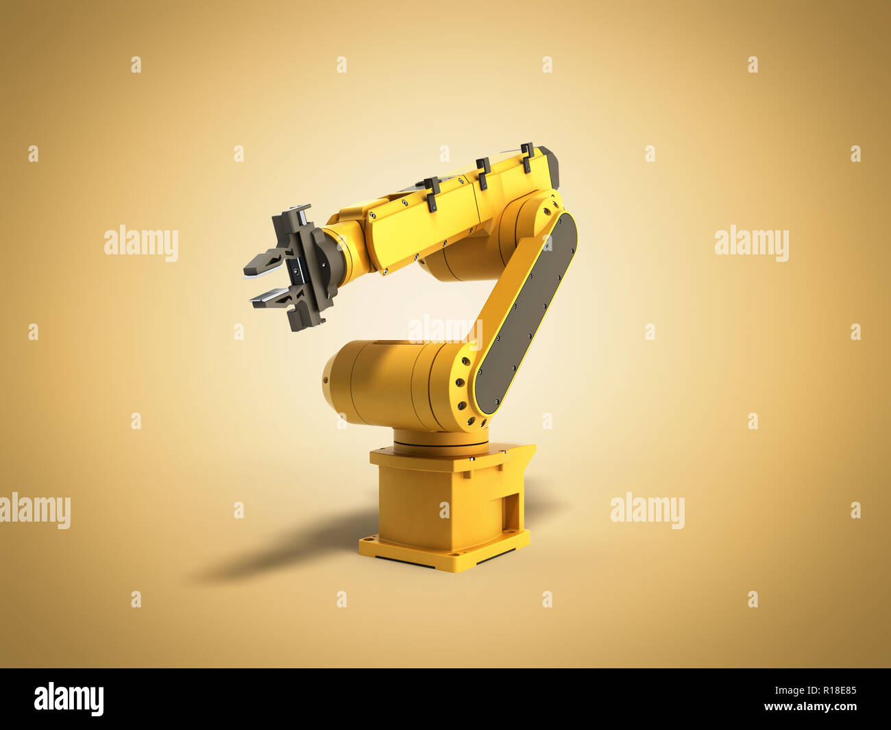 Industrial robot on yellow background 3D rendering - Stock Image