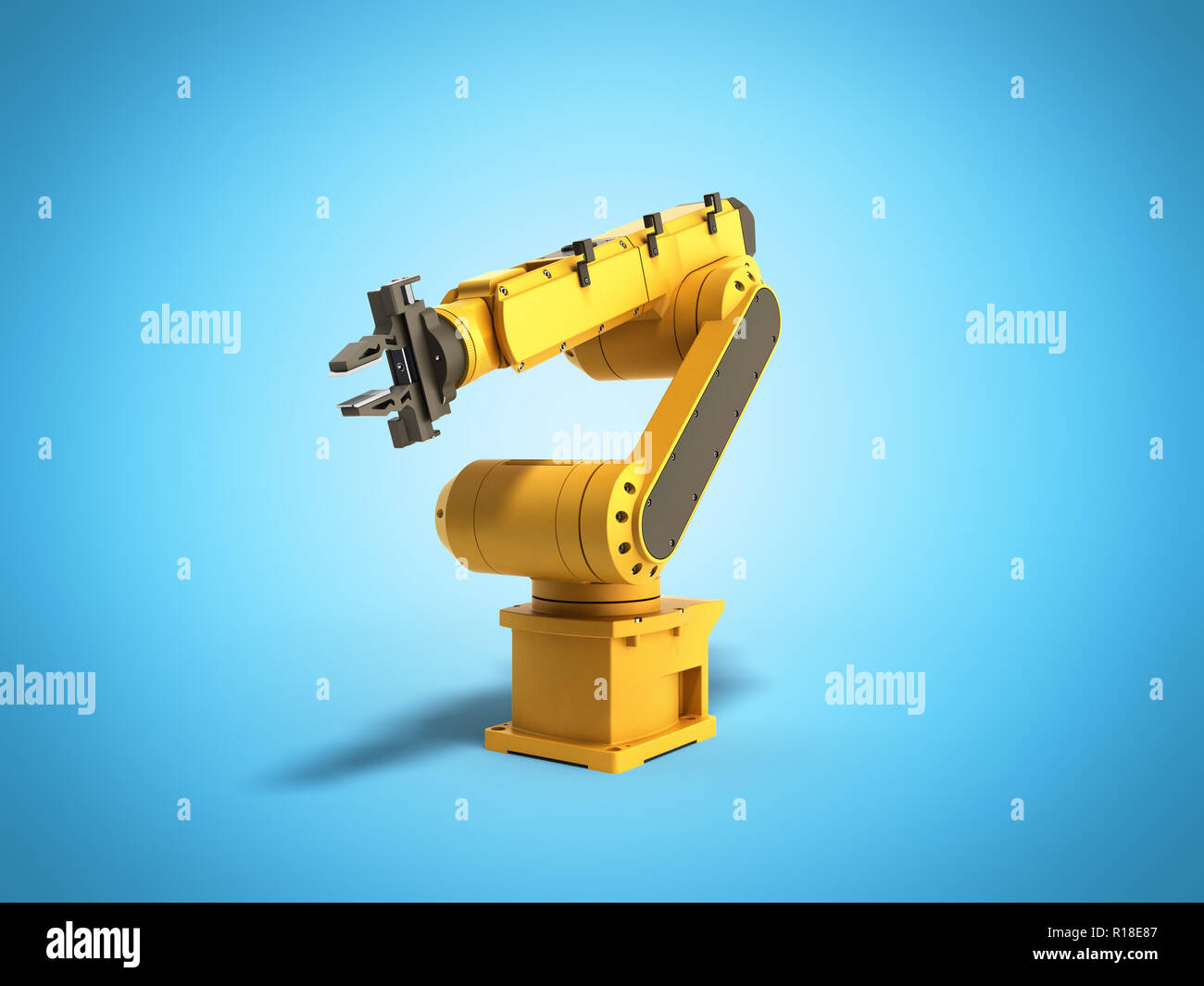 Industrial robot on blue background 3D rendering - Stock Image