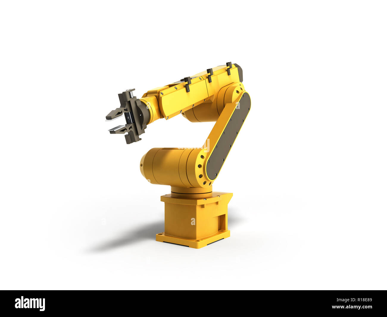 Industrial robot on white background 3D rendering - Stock Image