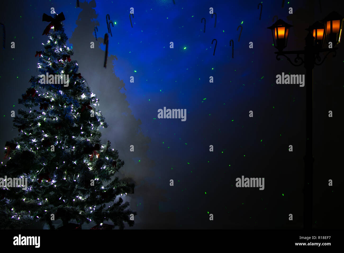 Festive Background Of Christmas Room With Tree Lights Street