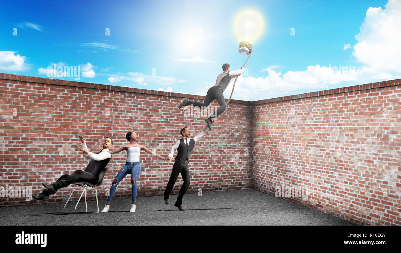Concept Of A Successful Team Idea Light Bulb That Pulls People Up Diagram Incandescent Group Picture Image By Tag 3d Render