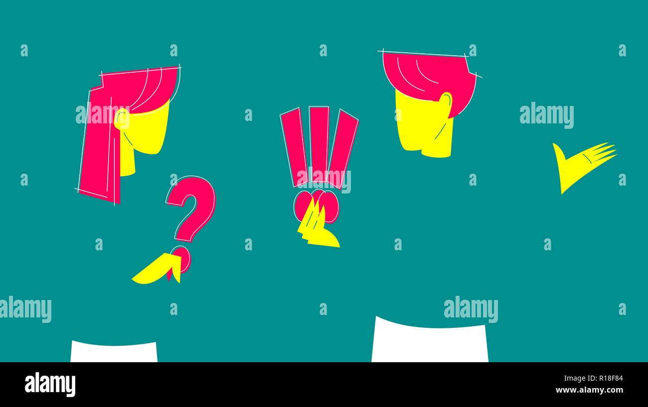 Abstract man and woman talking to each other. Woman holding big question mark, man holding three exclamation marks. - Stock Vector