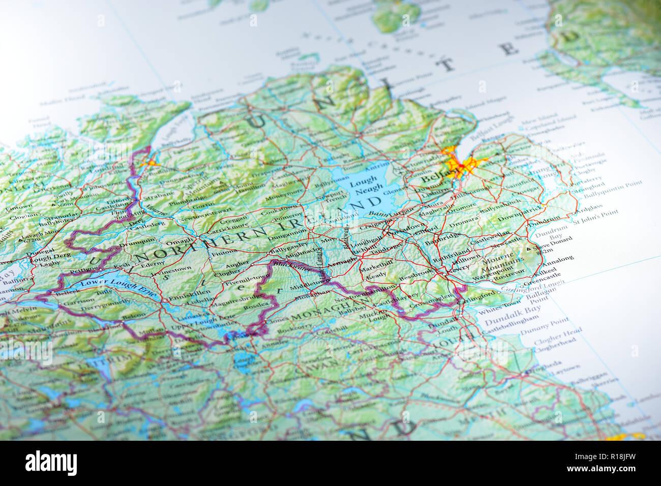 Map of Northern Ireland UK - Stock Image