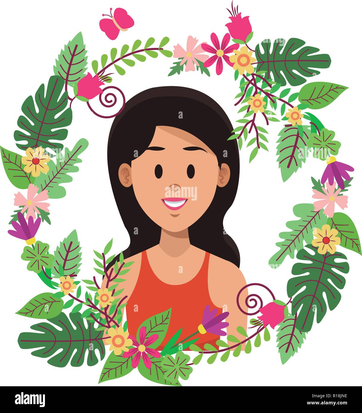 Woman face cartoon on leaves and wreath flowers ornament vector illustration graphic design Stock Vector