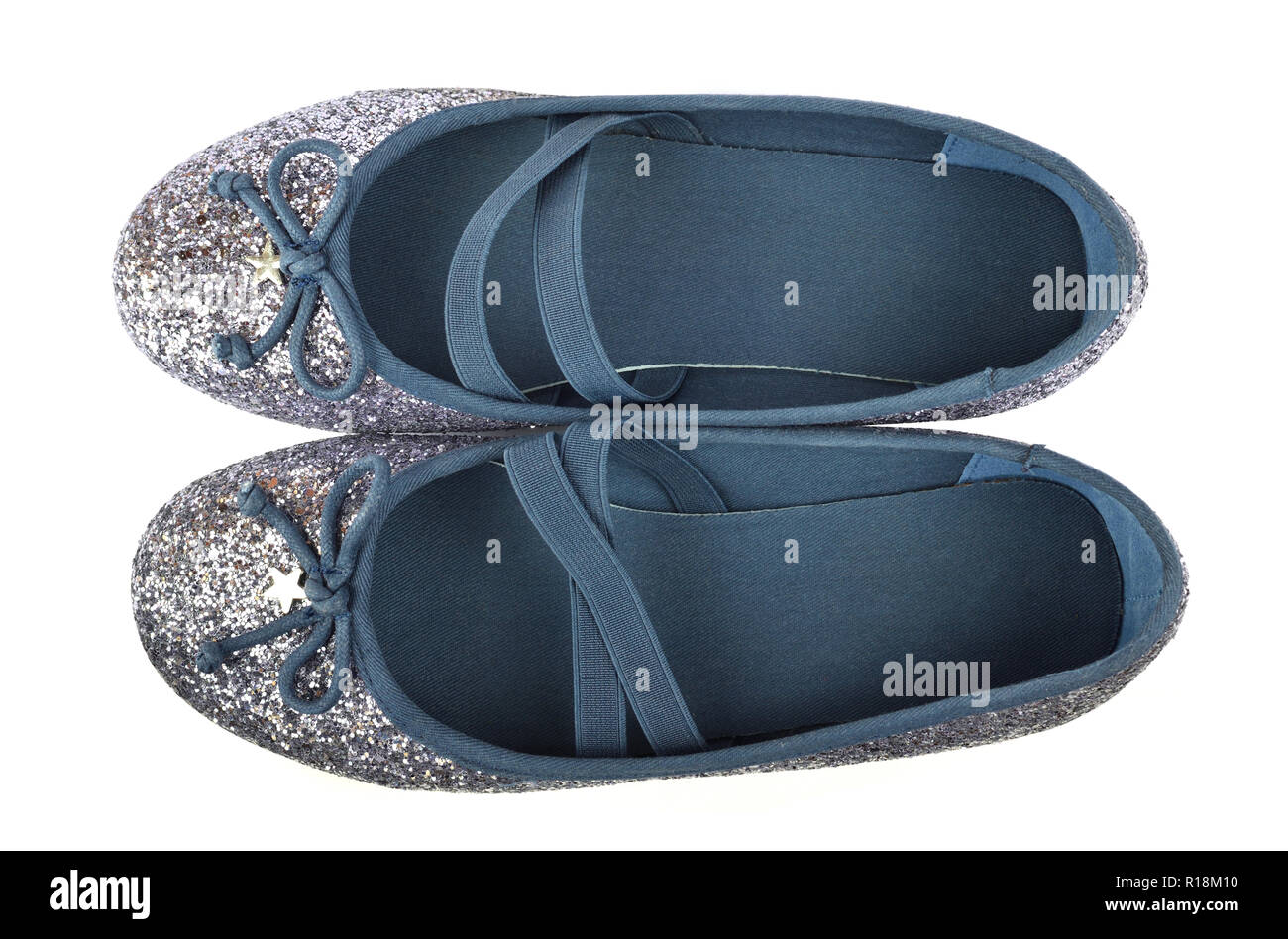 Shimmer silver blue ballerina flat shoes with crossed elastic drawstrings and soft cotton lining - on white background - bird-eye-view - Stock Image