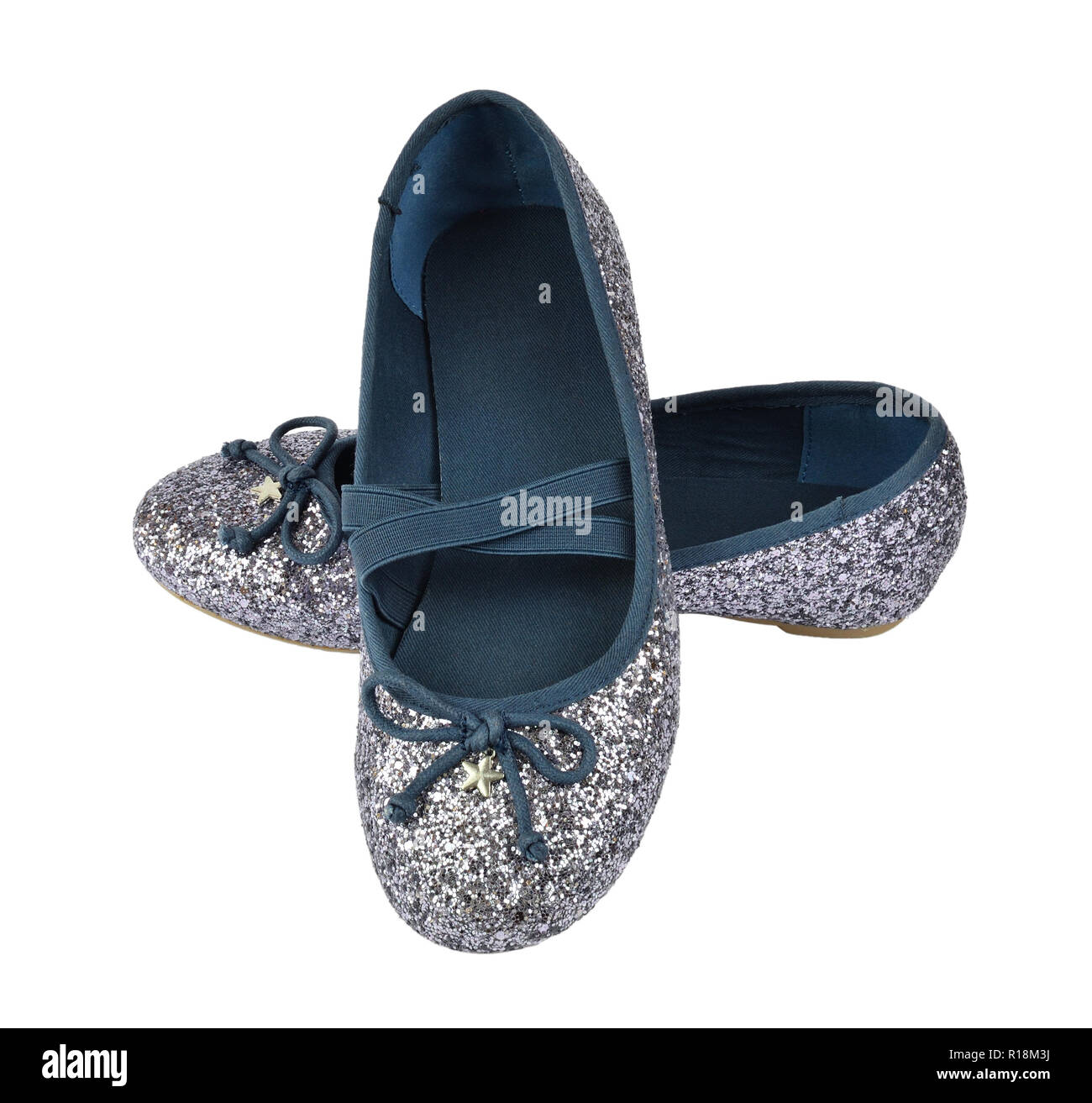 Shimmer silver blue ballerina flat shoes with crossed elastic drawstrings - isolated on white - Stock Image