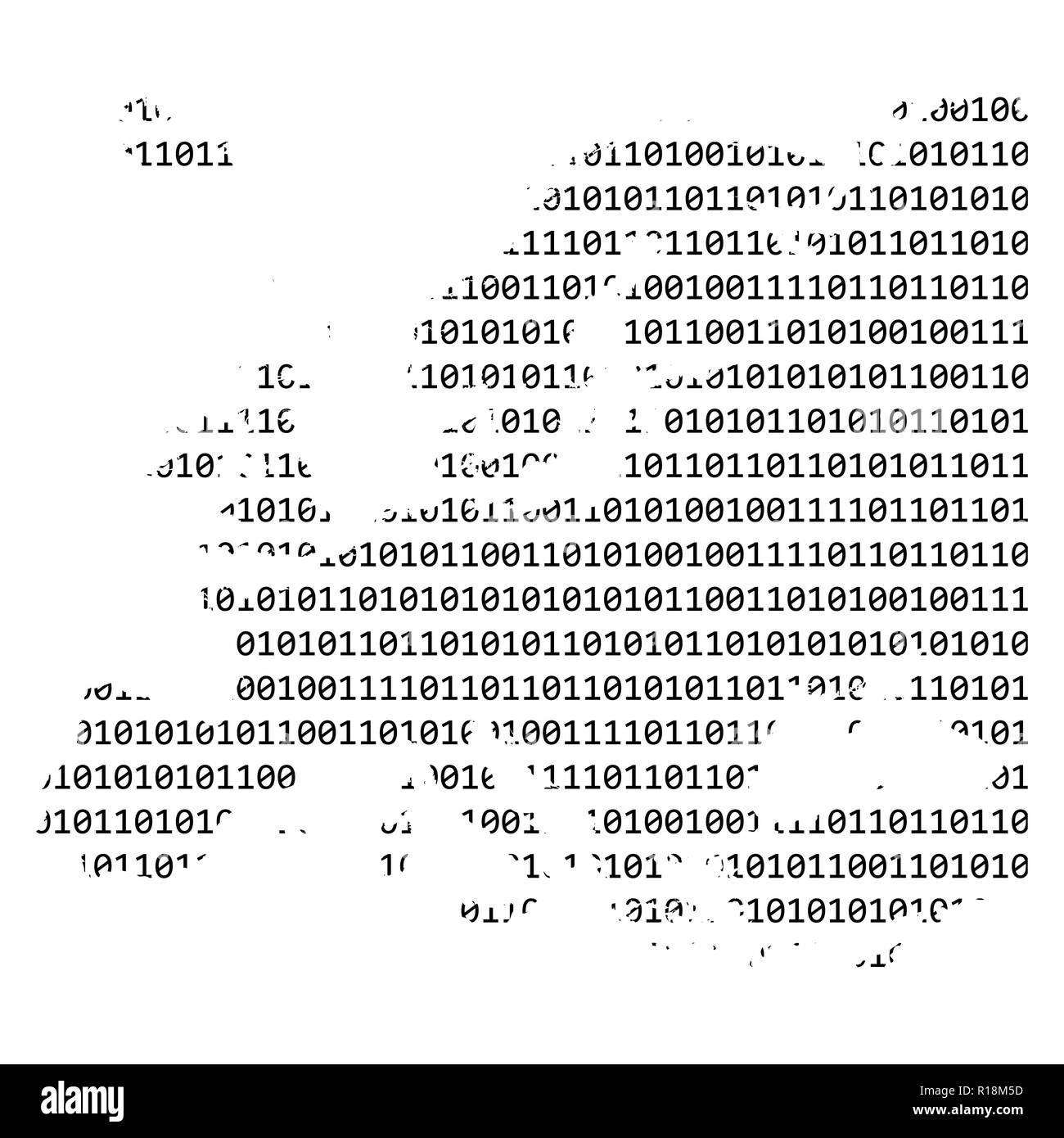 binary code europe map concept design isolated on white background - Stock Image