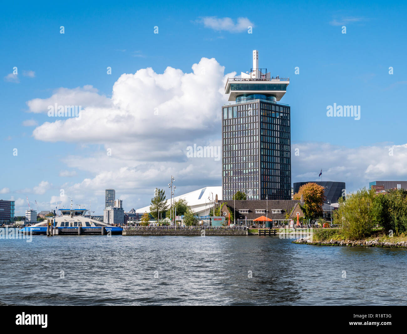Adam Tower, Eye Filmmuseum and ferry from River IJ in Amsterdam, Netherlands - Stock Image