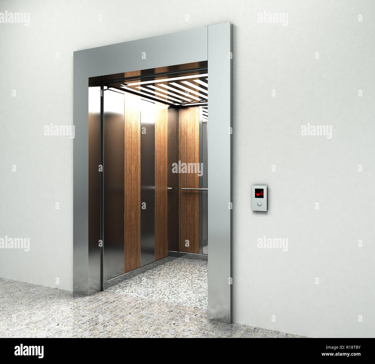 Realistic Empty Elevator Hall Interior With Waiting Lift Marble Floor Ceiling Window And Grey Walls 3d Render Stock Photo Alamy