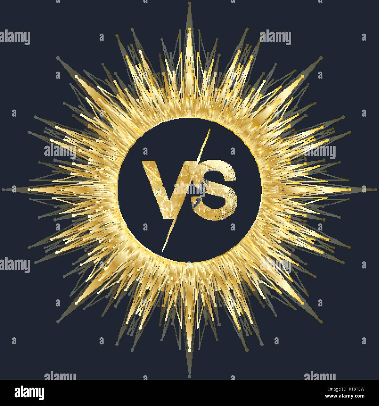 VS letters in the fractal element with connected lines and dots. Poster communication or particle compounds VS. Versus vector illustration - Stock Vector
