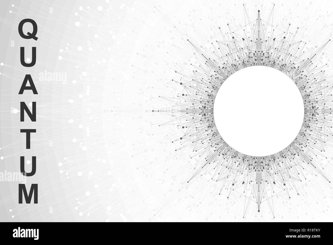 Quantum computer technology concept. Deep learning artificial intelligence. Big data algorithms visualization for business, science, technology. Waves flow, dots, lines. Quantum vector illustration - Stock Image