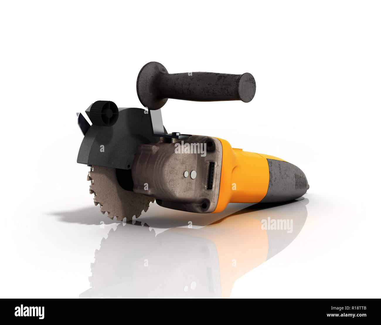 Angle grinder isolated on white background 3d render - Stock Image