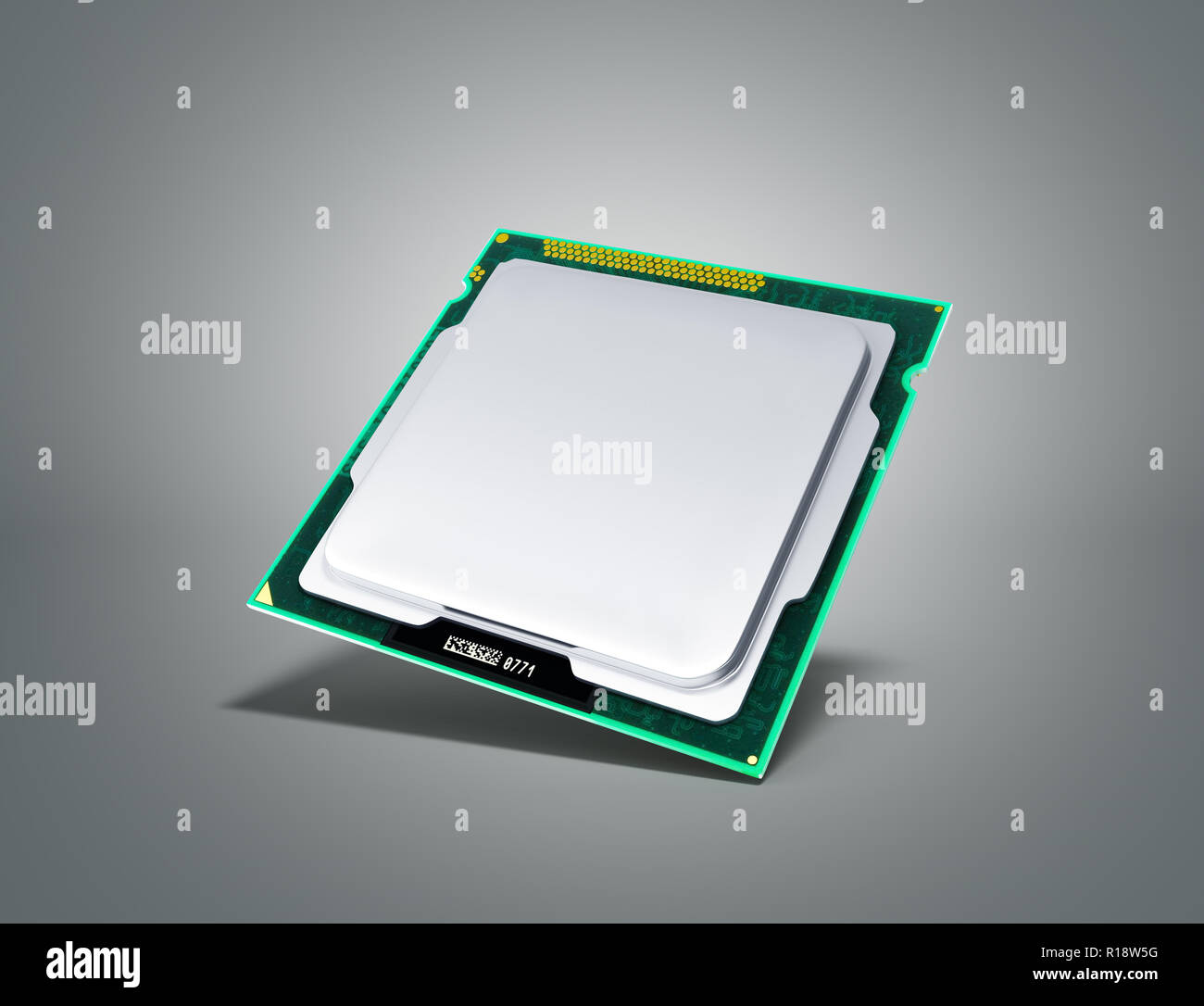 Computer Processors CPU High resolution 3d render on grey - Stock Image