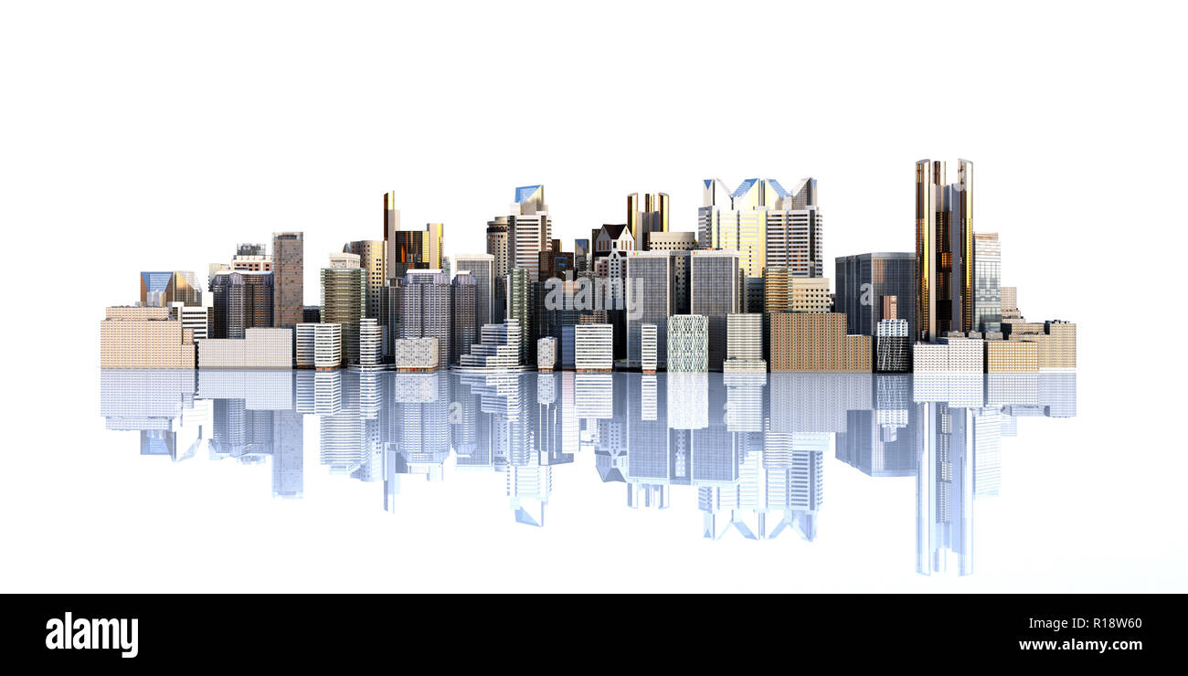 White city with reflection 3d rendering image on white - Stock Image