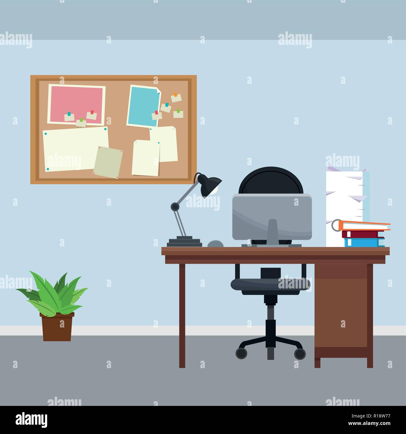 Office Work Place Cartoon Vector Illustration Graphic Design Stock