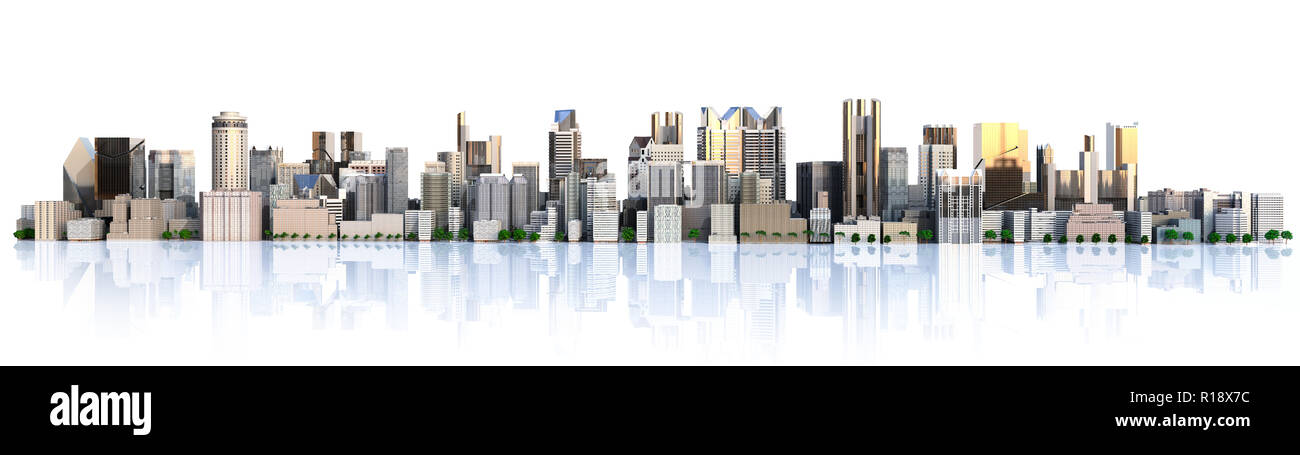 Day city with reflection 3d rendering image - Stock Image