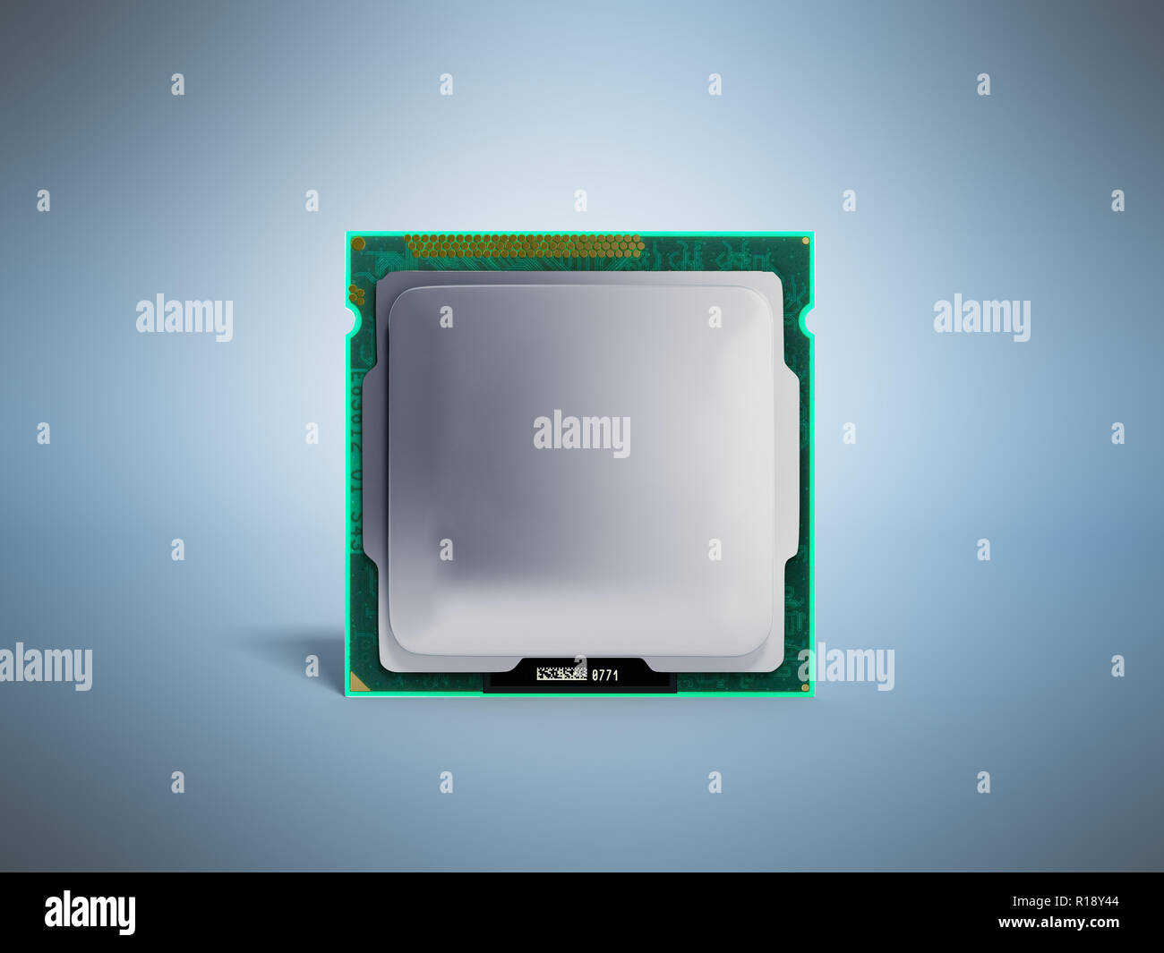 Computer Processors CPU High resolution 3d render on blue - Stock Image