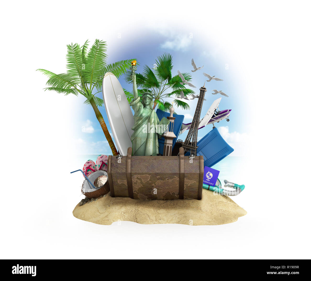 Concept of travel and tourism attractions and brown suitcase for travel 3D illustration on white - Stock Image