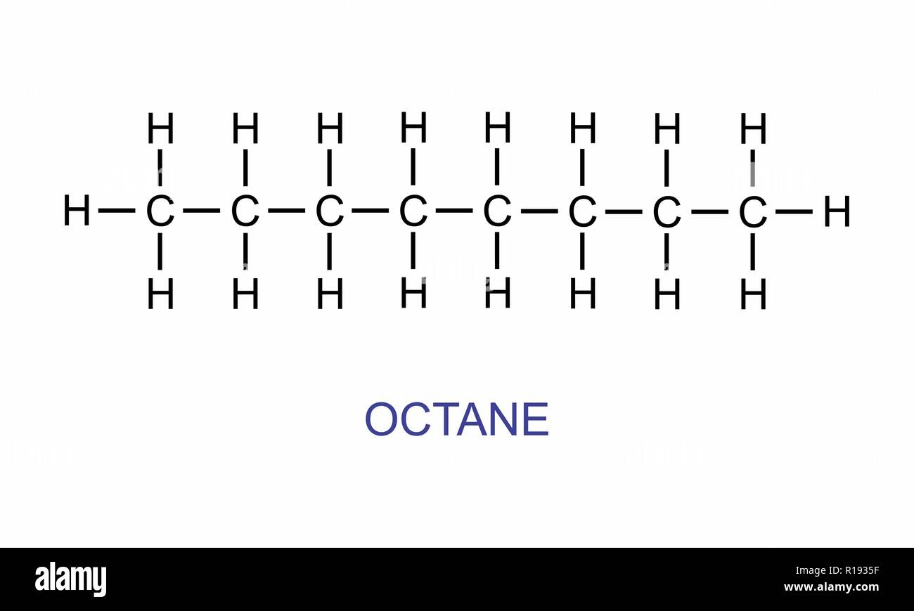 The illustration of the octane structural formula - Stock Vector