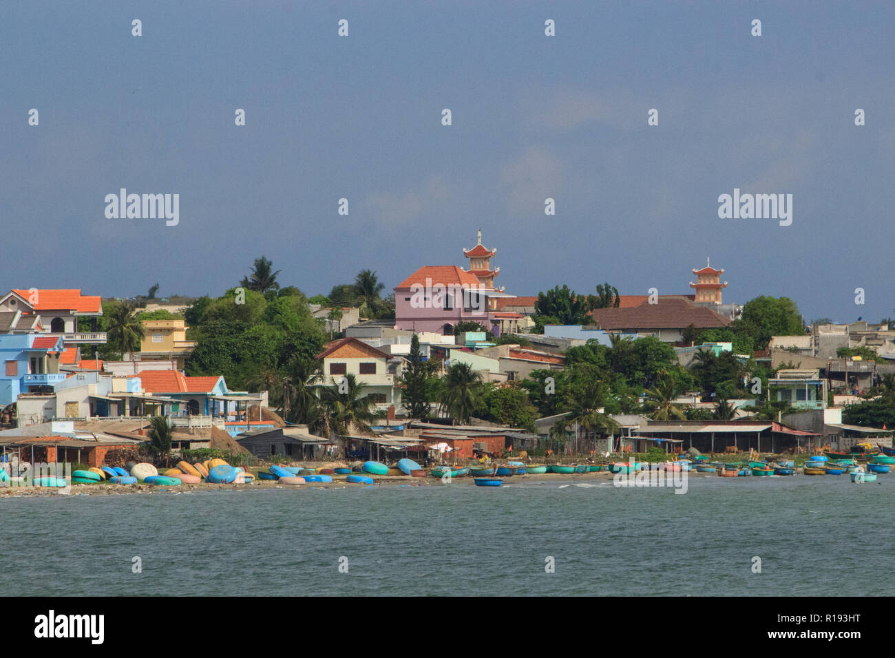 mui ne coast view of the village with fisher boats, vietnam - Stock Image