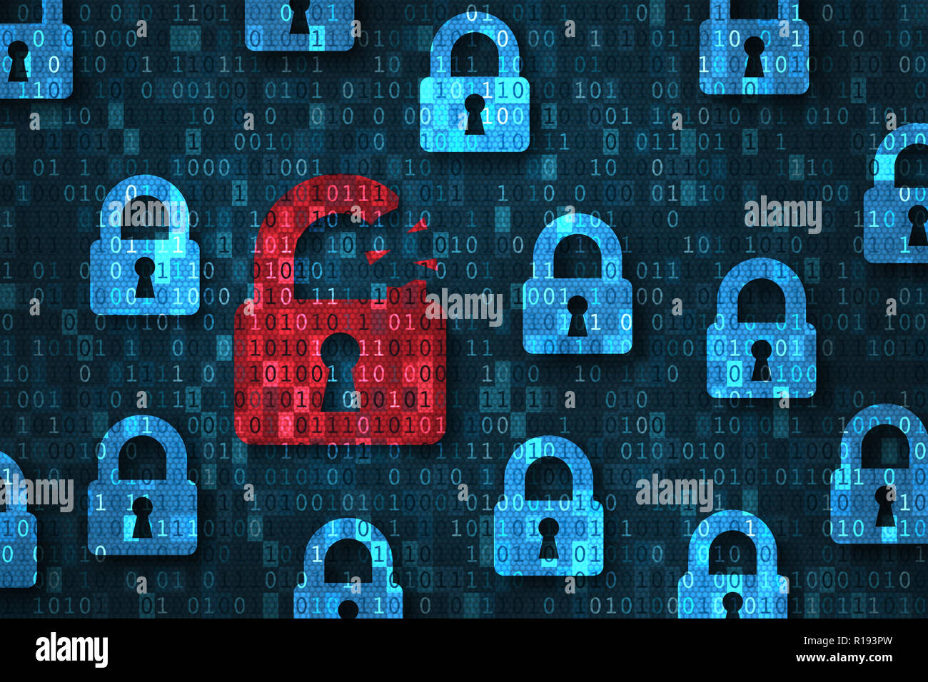 Security breach, system hacked alert with red broken padlock icon showing unsecure data under cyberattack, vulnerable access, compromised password, vi - Stock Image