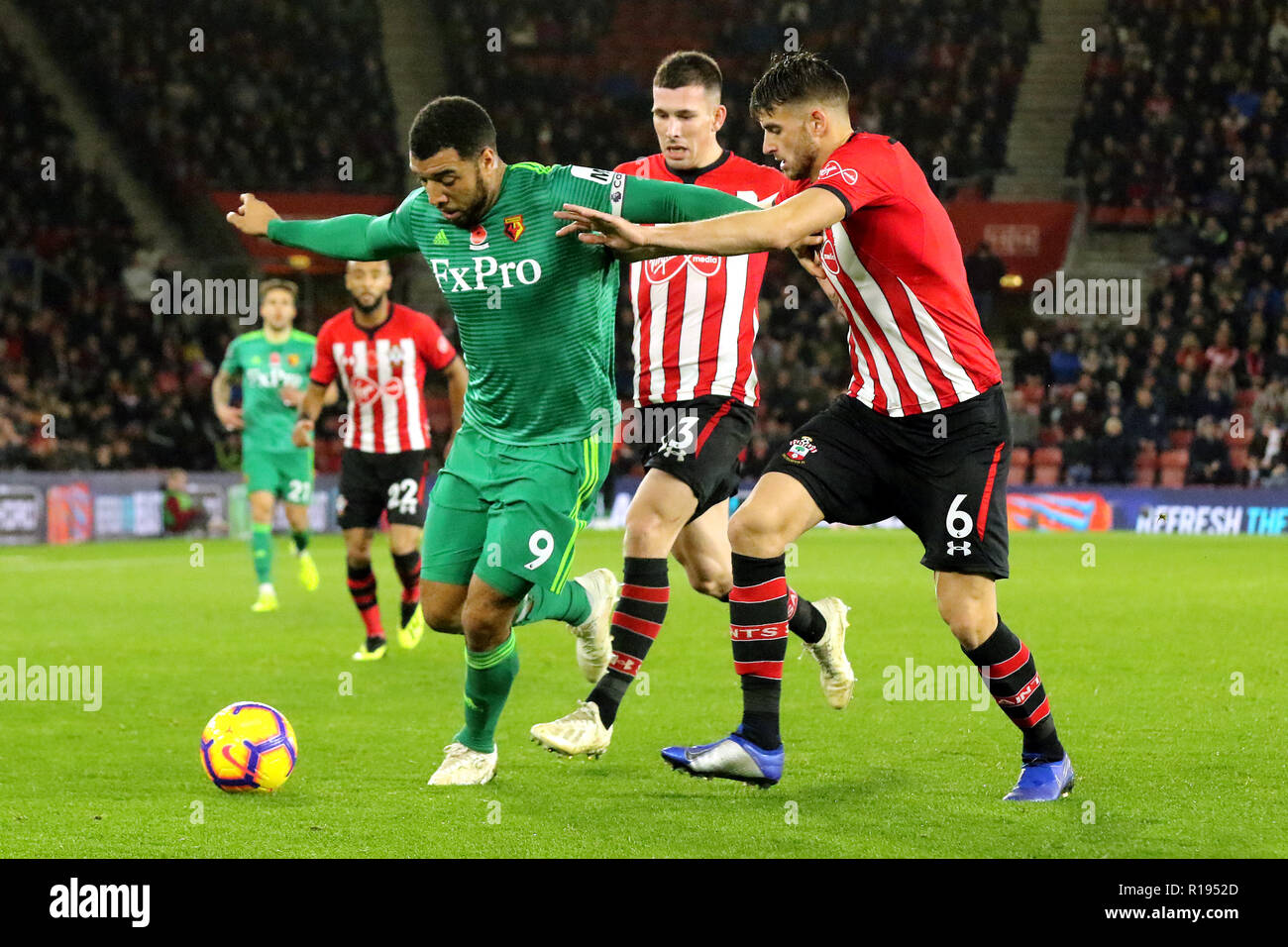 Watford's Troy Deeney (left) and Southampton's Wesley Hoedt