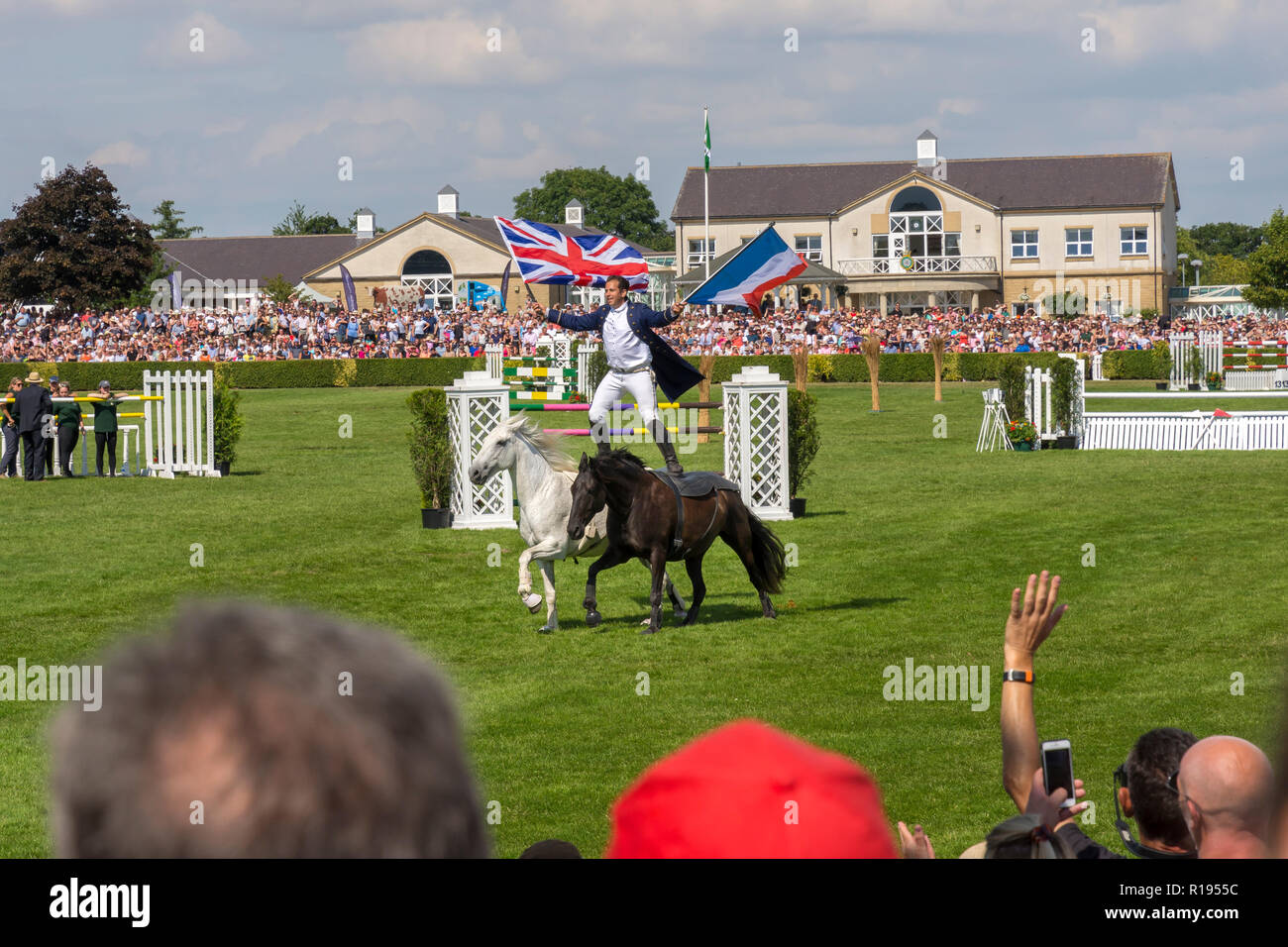 Equestrian dynamo Lorenzo demonstrates his bare back horse riding in the main arena at the Great Yorkshire Show Harrogate 2018 - Stock Image