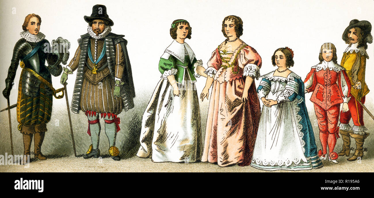 The figures represented here are all English people from the 1600s. They are, from left to right: Charles Prince of Wales, a nobleman, a woman of rank, Henrietta Maria, Consort of Charles I, daughter of Charles I, son of Charles I, a nobleman. Charles I was king of England, Scotland, and Ireland from 1625 until his execution in 1649. He was a Stuart and the second son of James VI of Scotland. The illustration dates to 1882. - Stock Image