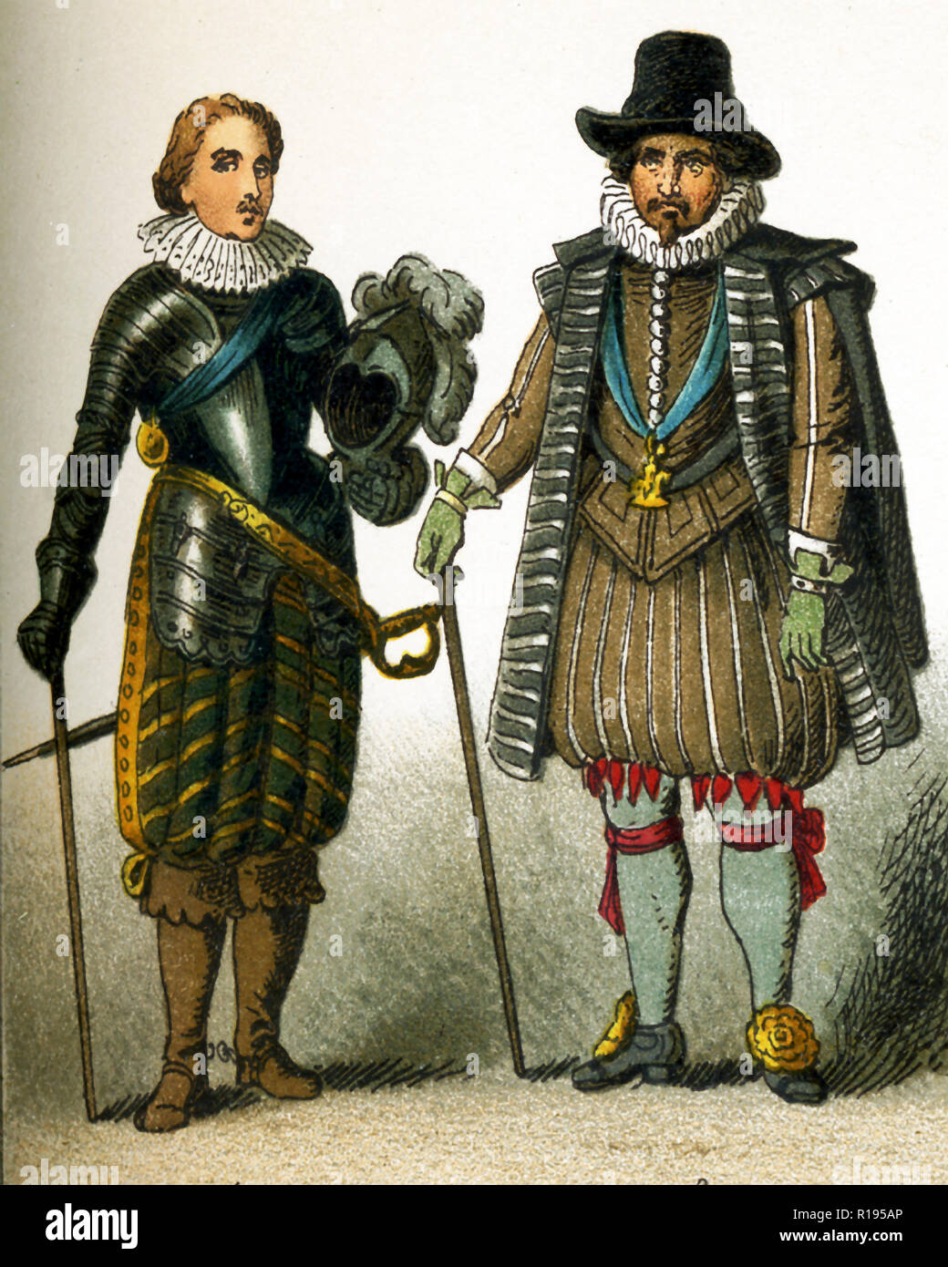 The figures represented here are all English people from the 1600s. They are, from left to right: Charles Prince of Wales and a nobleman. Charles  Prince of Wales became Charles I was king of England, Scotland, and Ireland from 1625 until his execution in 1649. He was a Stuart and the second son of James VI of Scotland. The illustration dates to 1882. - Stock Image