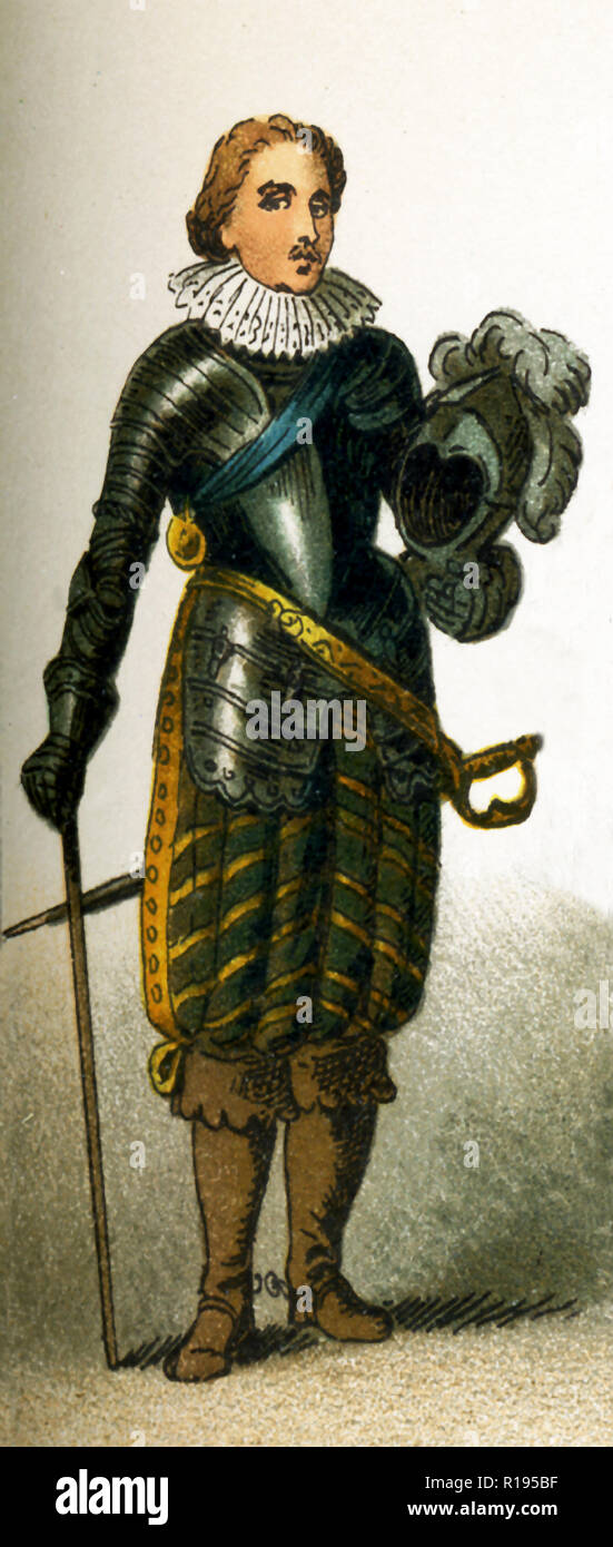 The figure represented here Charles Prince of Wales in the 1600s. He became Charles I,  king of England, Scotland, and Ireland from 1625 until his execution in 1649. He was a Stuart and the second son of James VI of Scotland. The illustration dates to 1882. - Stock Image