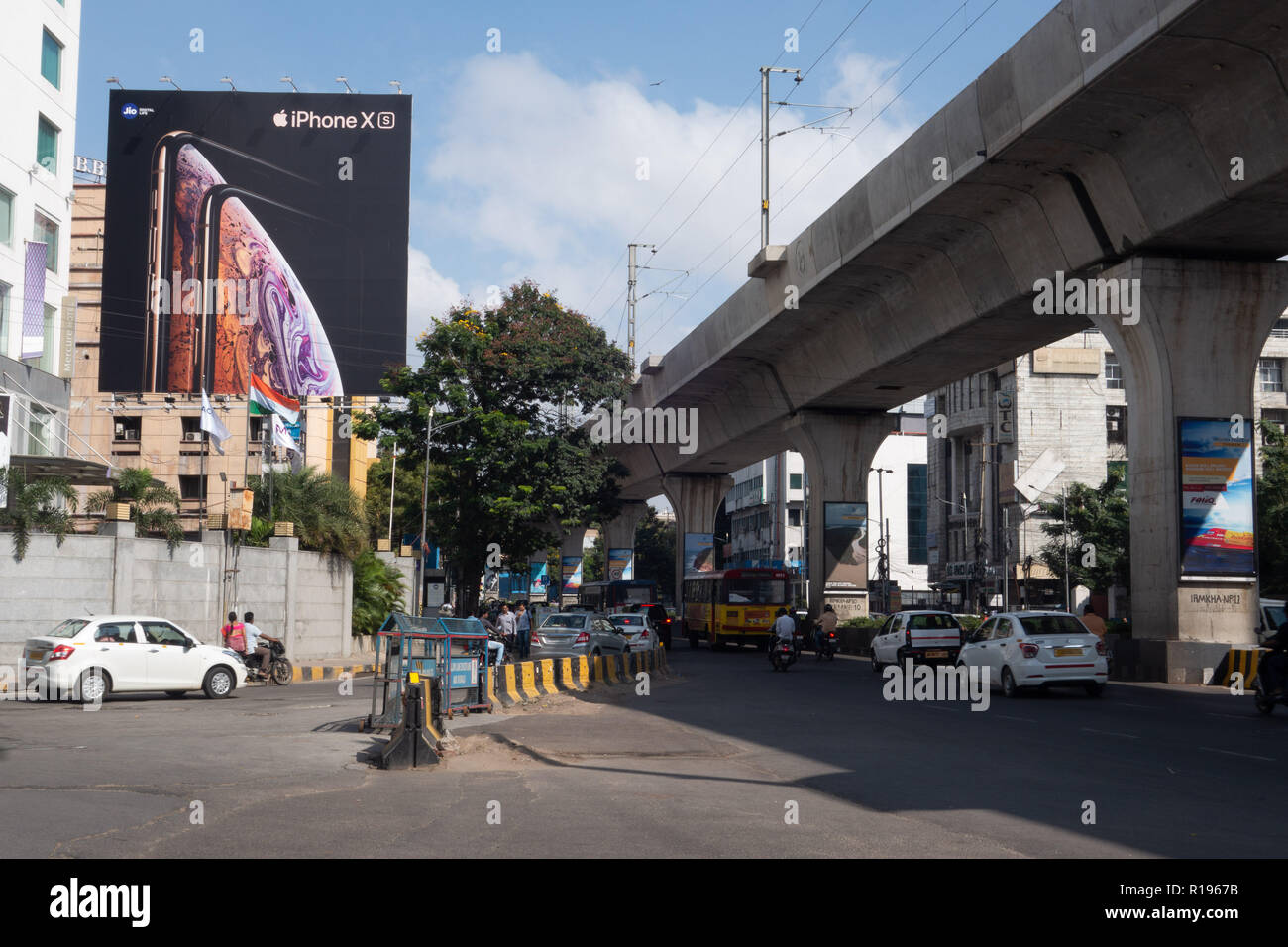 HYDERABAD, INDIA - NOVEMBER 03,2018 Morning rush hour traffic at a busy street in Hyderabad,India - Stock Image