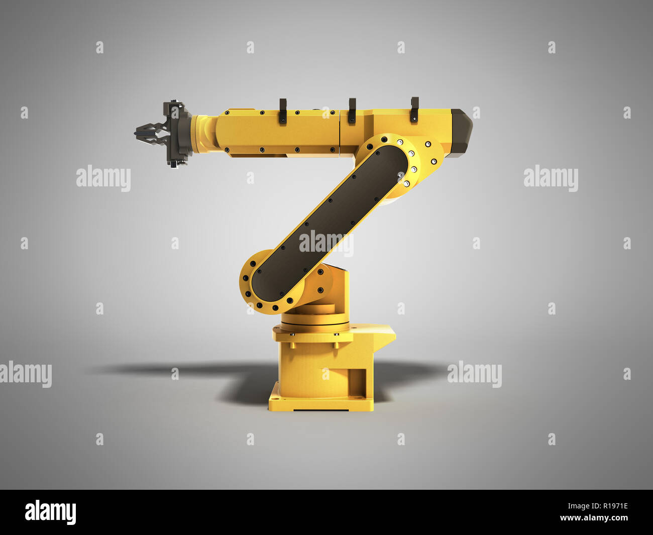 Industrial robot on grey background 3D rendering - Stock Image
