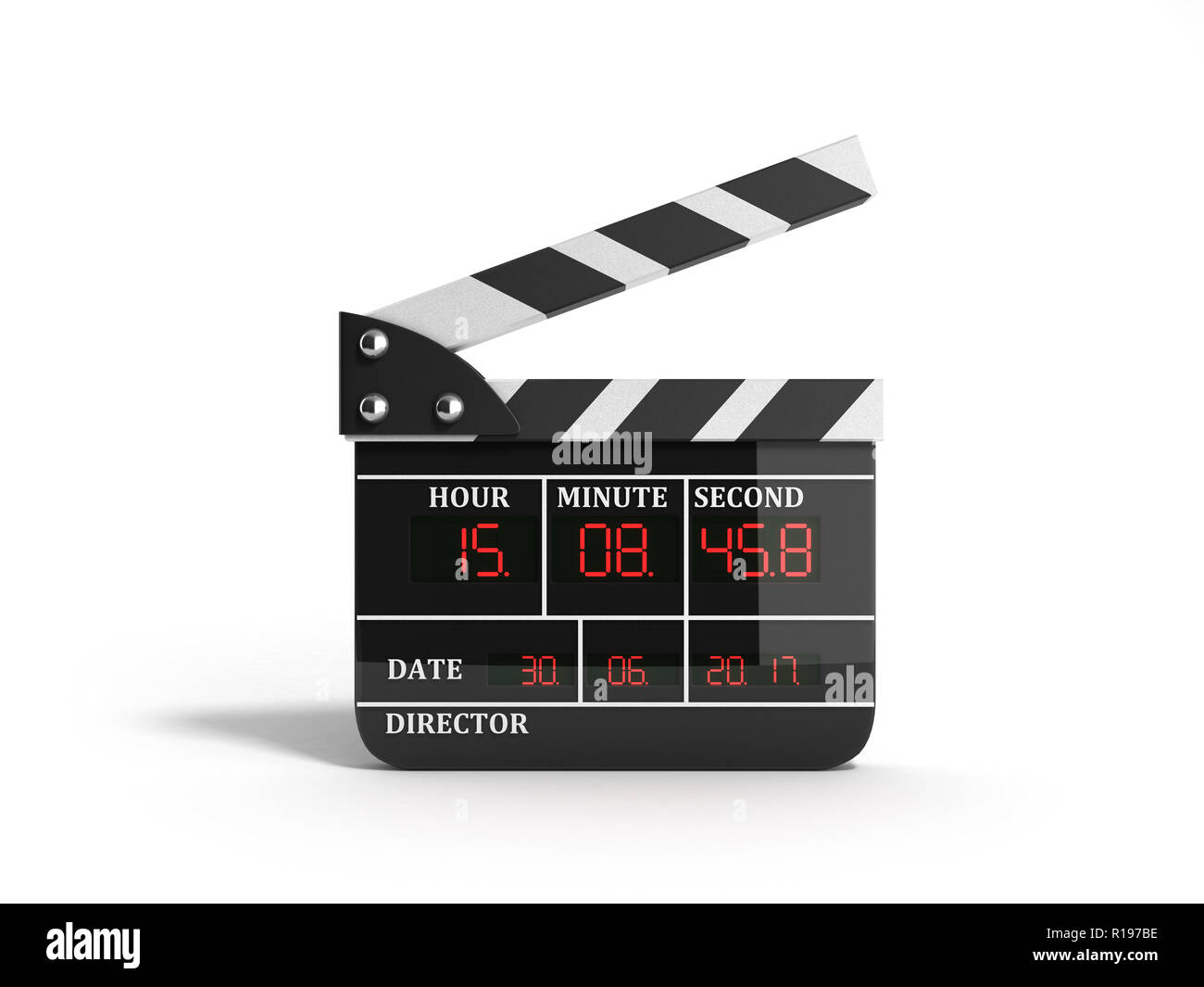 movie clapper board high quality 3d render on white Stock Photo