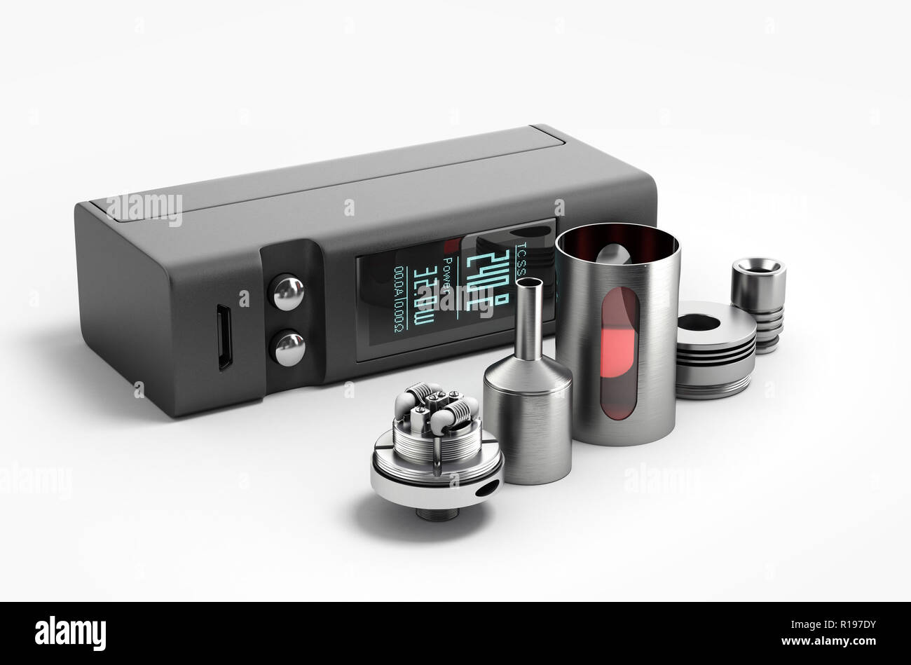 Electronic cigaretts Device box mod to smokeless smoking 3d render - Stock Image