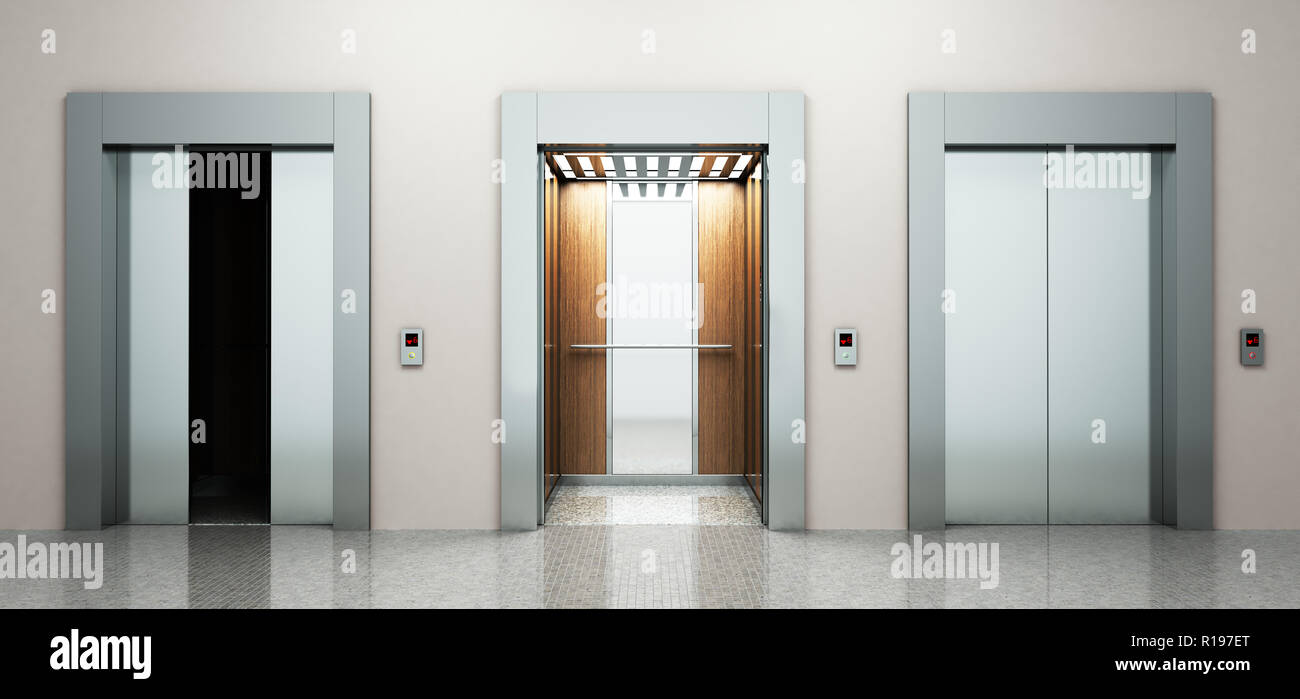 Realistic Empty Elevators Hall Interior With Waiting Lift Marble Floor Ceiling Window And Grey Walls 3d Illustration Stock Photo Alamy