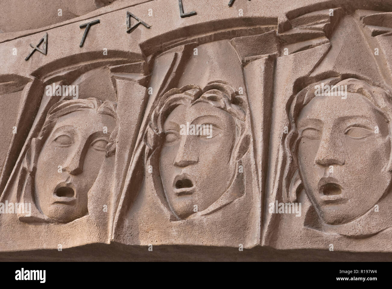 Stone carving faces palau musica stock photos stone carving
