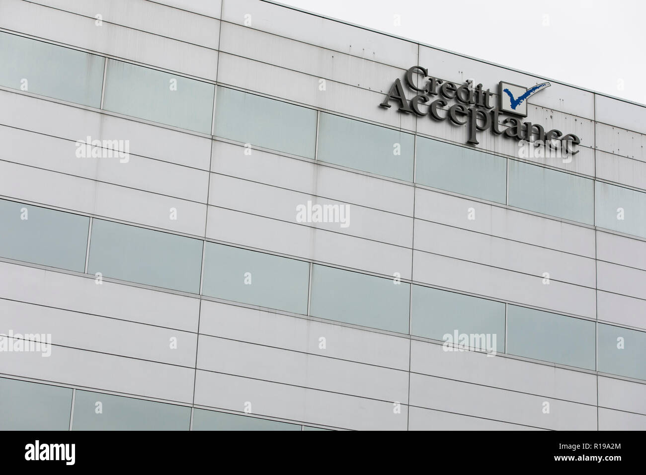 A logo sign outside of the headquarters of the Credit Acceptance Corporation in Southfield, Michigan on October 27, 2018. - Stock Image