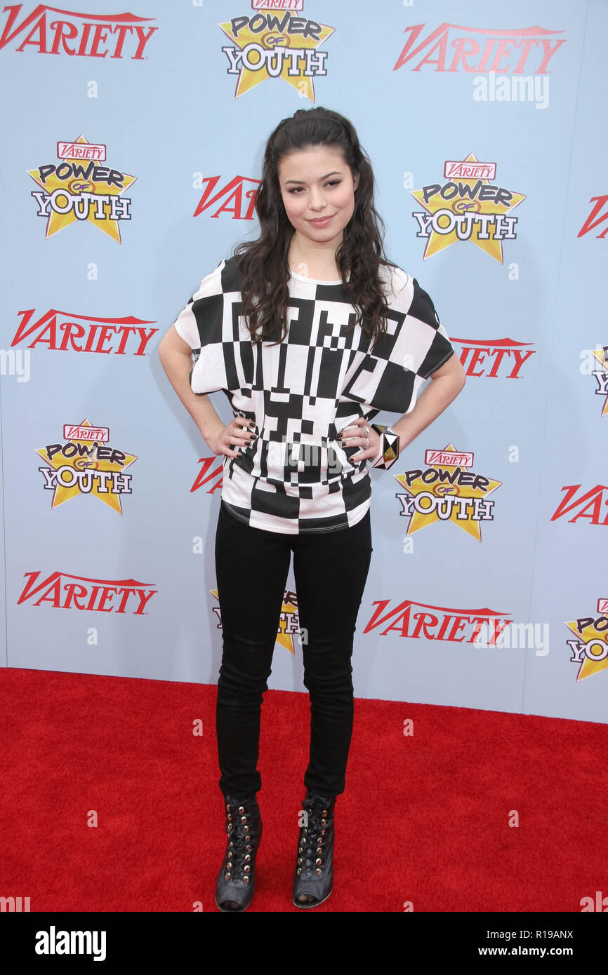 Miranda Cosgrove  12/05/09 'Variety's 3rd Annual Power of Youth Event'  @ Paramount Studios 'Streets of New York', Hollywood Photo by Ima Kuroda/HNW / PictureLux  (December 5, 2009) - Stock Image