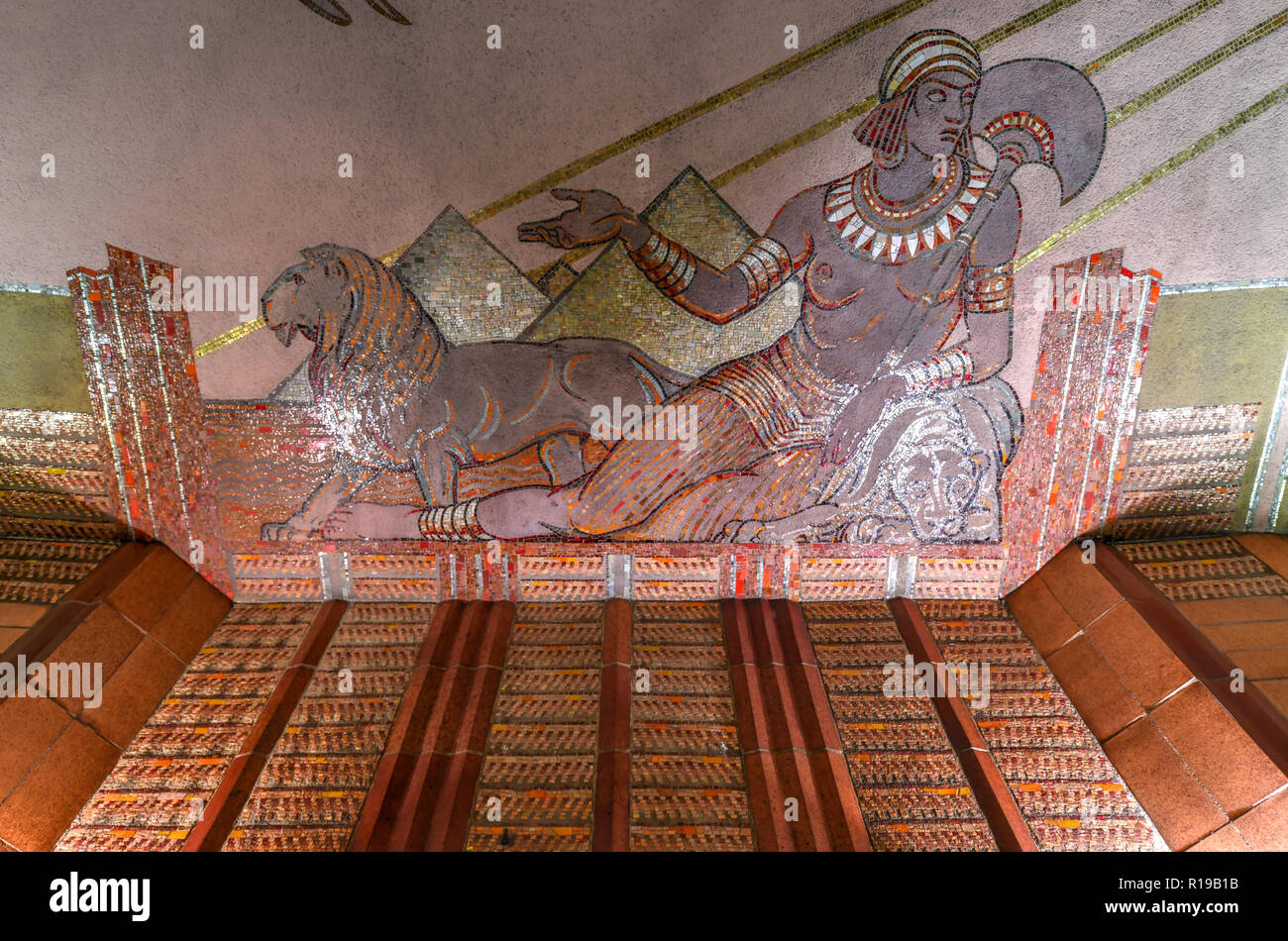 New York City - October 14, 2018: Art Deco mural in the AT&T Long Distance Building. It is a 27-story landmarked Art Deco skyscraper located in the Tr Stock Photo